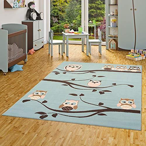Pergamon Kinderteppich Trendline Eulen Pastell Blau in 5 Größen