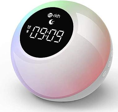 Lampe Réveil Enfant Rechargeable avec Haut-parleurs Bluetooth, Te-Rich Réveil Lumineux Portable avec Contrôle Tactile, Snooze