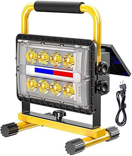 Faretto Da Lavoro A Led Solare 200W, Proiettore Da Costruzione A Batteria 3500K Luce Calda, Lampada Da Lavoro Ricaricabile Usb Con 4 Modalità Di Luce, Power Bank Da 20800 Mah, Proiettore Da Esterno P