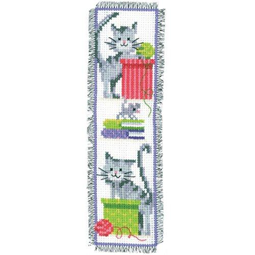 Vervaco Neugierige Katzen Zählmusterpackung-Lesezeichen-Stickpackung im gezählten Kreuzstich, Baumwolle, Mehrfarbig, 6 x 20 x 0.3 cm