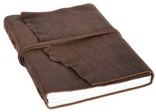 Gusti Buch Leder - Violetta Notizbuch Skizzenalbum Gästebuch DIN A4 Braun Leder