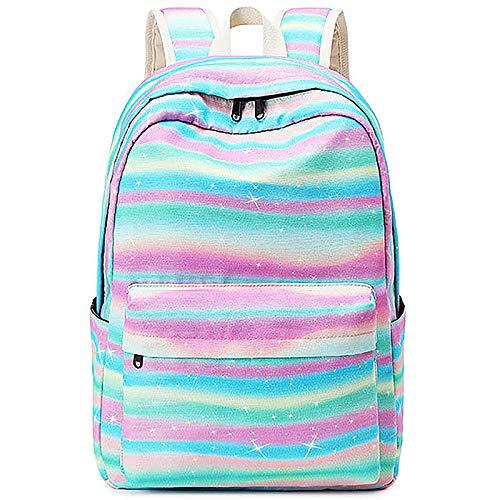 Xinveen Mochila Rainbow para niños Twinkle mochila escolar ligera para portátil, multifunción, regalo para adolescentes y mujeres, arcoíris (Multicolor) - A-XVeu-stripebag-rainbow