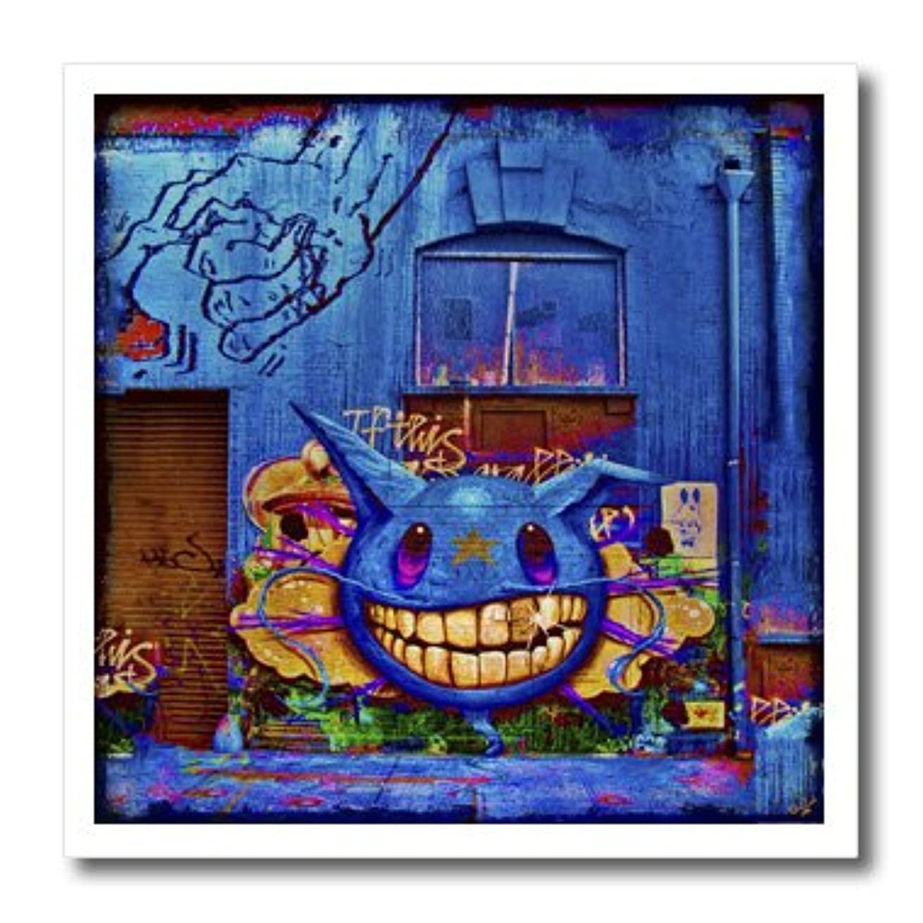 3dRose ht_55979_3 Wall Blue Graffiti Teeth Grunge-Iron On Heat Transfer, 10 by 10