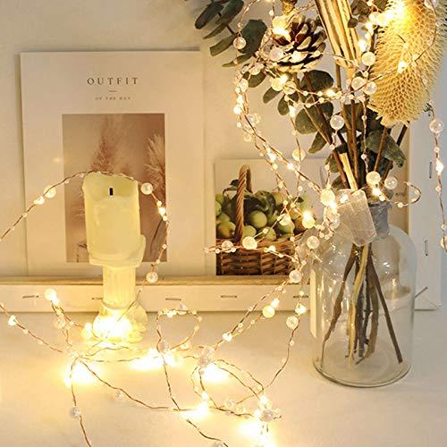 5m 50LEDs Lichterkette Batterie Perle Kupferdraht Lichterkette Wasserdicht Stimmungs Weihnachtsdeko Stimmungslichte für Hochzeit Party Innen Außen Decoration Sterne Lichterkette