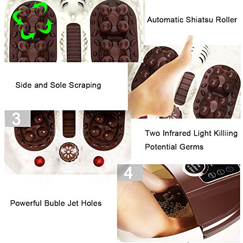 YUEBO Foot Spa Massager, Foot Spas with Auto Shiatsu Massage Roller, Spa Foot Bath with Heater Temperature Control & Bubble Jet & Infrared Disinfector for Foot Care, Eco Friendly Frequency Conversion