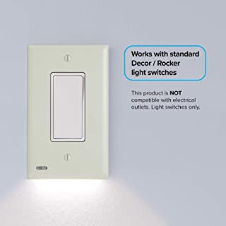 1 Pack - SnapPower SwitchLight - LED Night Light - For Light Switches - Light Switch Wall Plate With Built-In LED Night Lights - Bright/Dim/Off Options - Automatically On/Off Sen(Rocker, Light Almond)