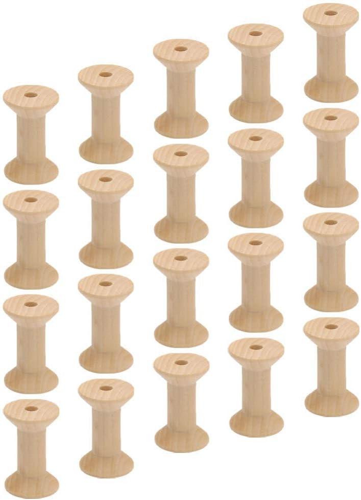 Milisten 20 Piezas Bobinas de Madera sin Terminar Bobinas en Forma de Vidrio Carretes de Madera Herramientas de Costura de Bobina para Arte Y Artesan/ía
