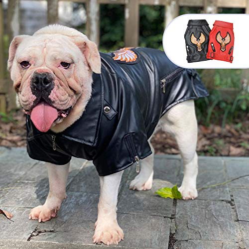 lovelonglong Coole Hunde Lederjacke, Warme Mäntel Hunde Winddicht Kaltes Wetter Mäntel für Große Mittlere Kleine Hunde Mit Adler Stickerei Schwarz B-M