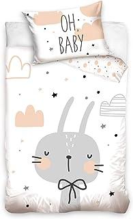 DHestia - Juego Funda Nórdica 100% Algodón Natural para Cuna de Bebé Conejo BABY203005