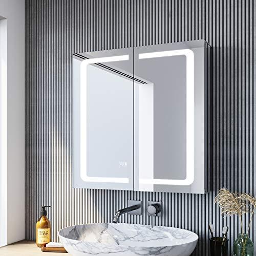 SONNI LED Spiegelschrank 65 × 65cm beschlagfrei Spiegelschrank mit Beleuchtung mit Steckdose Aluminum Badezimmerschrank mit Spiegel mit Touchschalter