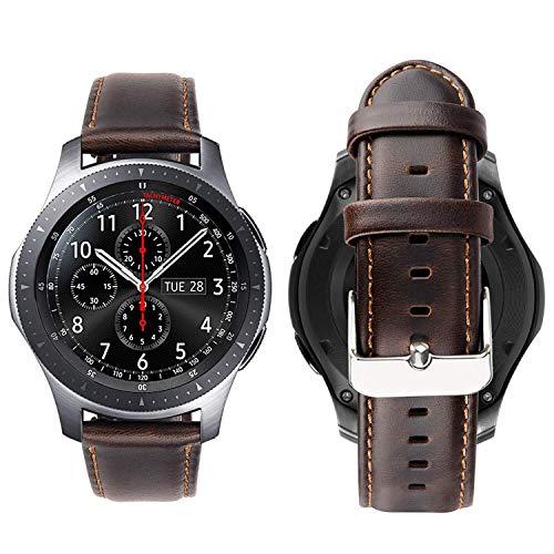 Correa iBazal Gear S3 Frontier Classic Cuero Piel 22mm Compatible con Samsung Galaxy Watch 46mm Reemplazo para Huawei GT/2 Classic/Honor Magic,Ticwatch Pro Hombres Reloj Band (Reloj No Incluido)- Café