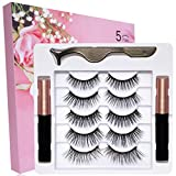 Magnetic Eyelashes Natural Look, 5 Pairs Fake Eyelashes And 2 Pack Magnetic Eyeliner And Lashes Kit, 5 Style False Eyelashes, Eye Lashes Sets Magnetic Lashes And Eyeliner Magnet Eyelashes For Women