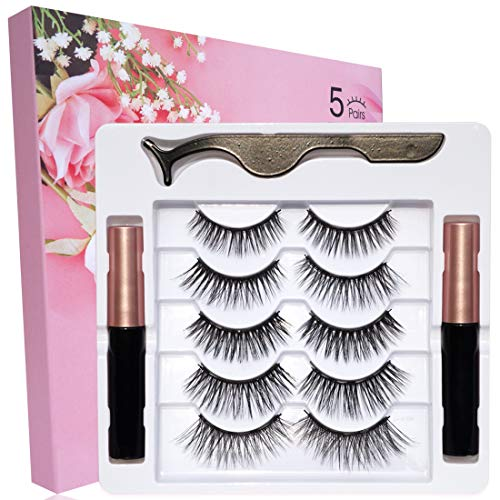 Magnetic Eyelashes Natural Look, 5 Pairs Fake Eyelashes And 2 Pack Magnetic Eyeliner And Lashes Kit, 5 Style False Eyelashes, Eye Lashes Sets Magnetic Lashes And Eyeliner Magnet Eyelashes For Women