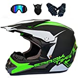 SBUNA 4pcs Hombre Mujer Cascos de Motocros Campo A Través Go-Kart con Gafas/Guantes/Mask, Casco de Off Road Four Season Cross-Country Dirt Jumping Dual Slalom Adulto, Blanco/Azul/Negro,XL