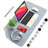 AFRITEE Desk Pad Protector Mat - Dual Side PU Leather Desk Mat Large Mouse Pad Waterproof Desk Organizers Office Home Table Decor Gaming Writing Mat Smooth (Grayish Blue/Silver, 31.5' x 15.7')