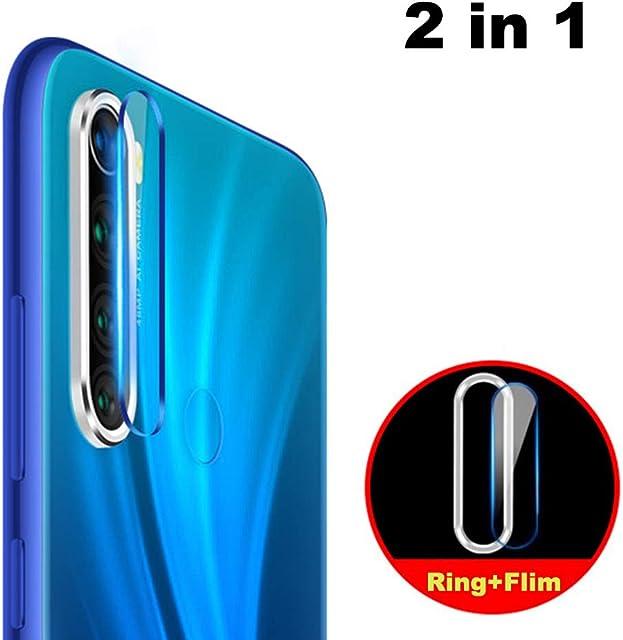 NOKOER Protector de Lente de Cámara para Xiaomi Redmi Note 8 [2 en 1] Anillo Protector Metálico para la Cámara + Película Protectora para la Cámara Lente de la Cámara de Protección - Plata