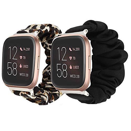 LvBu Armband Kompatibel mit Fitbit Versa 2, weiche Haargummis Uhrenarmband für Fitbit Versa 2 Health & Fitness Smartwatch (Schwarz+Leopard)