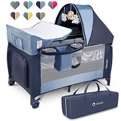 Lionelo Sven Plus 2 in 1 Baby Bett Laufstall Baby ab Geburt bis 15 kg Wickelauflage Moskitonetz luftige Seitenwände mit Seiteneingang Tragetasche zusammenklappbar (Blue Navy)