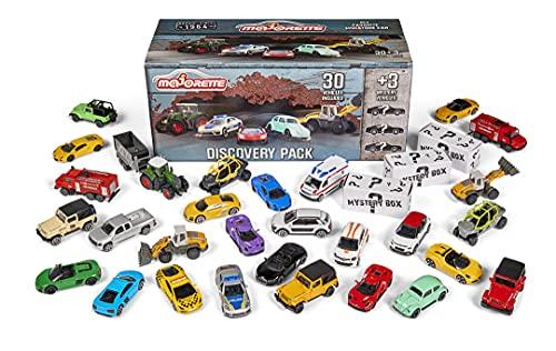 Majorette 30+3 Set, enthält 20 Spielzeugautos, 10 Premium Autos, 3 Spezial Fahrzeuge, VW Käfer, Lamborghini, Porsche, Mercedes, Reno, Audi, 1:64, 7,5 cm, inkl. Werkzeugkiste als Aufbewahrungsbox