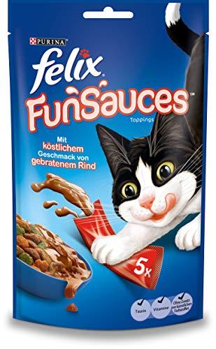 FELIX FUNSAUCES Katzensnack liquid, cremiges Topping mit Rindgeschmack, 12er Pack (12 x 5 x 15g)