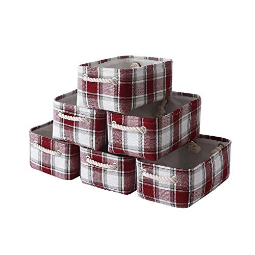 Pulnimus Fabric Storage Baskets Set [6 Pack],Cloth Baskets,Nursery Baskets,Small Storage Bins for Baby,Empty Gift Baskets with Rope Handles,Rectangular Basket,Decorative Closet Baskets (Red Box)