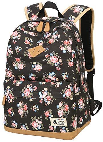 Geek-M Blumen Rucksack Mode Floral Schulrucksack Daypacks für Mädchen Schule Reiserucksack (Schwarz)