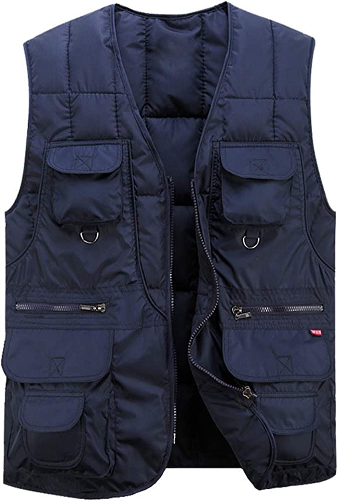 XIAOADAI Men's Quilted Puffer Vest Winter Fishing Travel Multi-Pocket Outdoor Vest