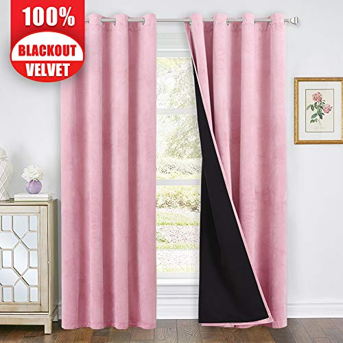 Full Blackout Velvet Curtains Pink - Romantic Decoration Velvet Panel Drapes with Thermal Insulated Lining, Soundproof Privacy Drapery for Toddle Room, Pink, 52-inch Width x 84-inch Length, 2 Pieces
