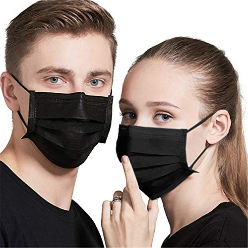 Black Mask Disposable Face Masks Breathable Dust Filter Mouth Cover Masks with Elastic Ear Loop for Men & Women (50pcs)