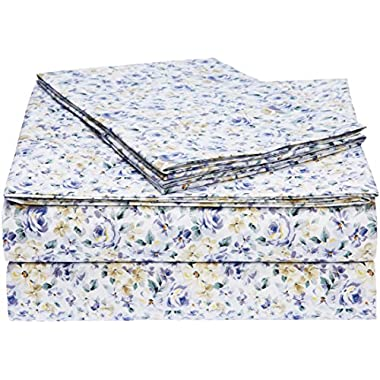 AmazonBasics Microfiber Sheet Set - Queen, Blue Floral