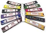 Satya Surtido Mix Inciensos Aromáticos + Inciensario Mármol, 12 Paquetes de 15 g., Incienso Natural Aromaterapia, Gran Duración Aroma Delicado