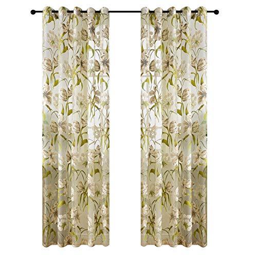 cortinas cocina flores verdes