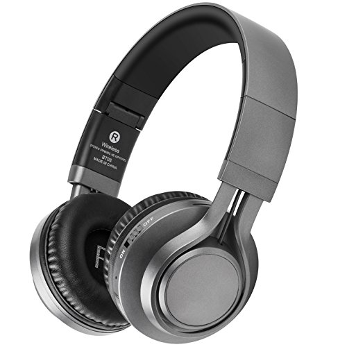 Bluetooth Headphones with Mic, HiFi Stereo Wireless Headphones 40 MM Drive, 8 Hrs Playtime Foldable Headset, Support TF Card, FM Radio Wired&Wireless Mode for PC Cellphone TV (Black Gray)