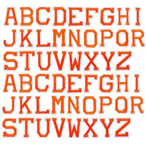 GORGECRAFT 52Pcs Hierro En Parches de Letras, Parches con Apliques de Alfabeto AZ con Parches Decorativos Adhesivos Planchados para Ropa, Sombreros, Zapatos, Camisas, Bolsos, Naranja