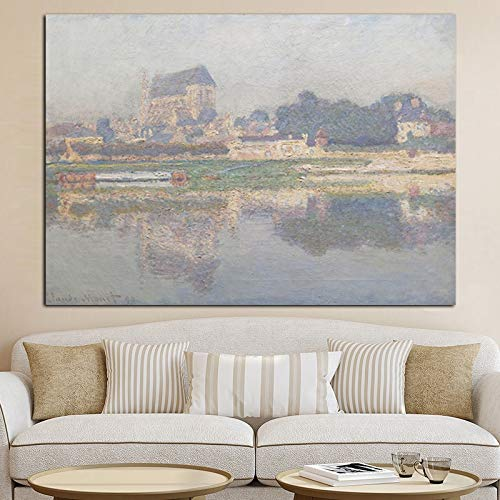Impresión HD Claude Monet Impresionista rural rural río paisaje pintura al óleo lienzo póster pintura decorativa sin marco en la pared de la sala de estar C28 30x40cm