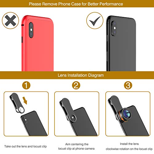 Phone Camera Lens,Upgraded 3 in 1 Phone Lens kit-198° Fisheye Lens + Macro Lens +...