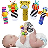 Foot Finders & Wrist Rattles,Baby Sensory Finger Toys,Cute Animal Socks Toys for 0-3 3-6 6-9 9-12 Months/Baby/Toddler