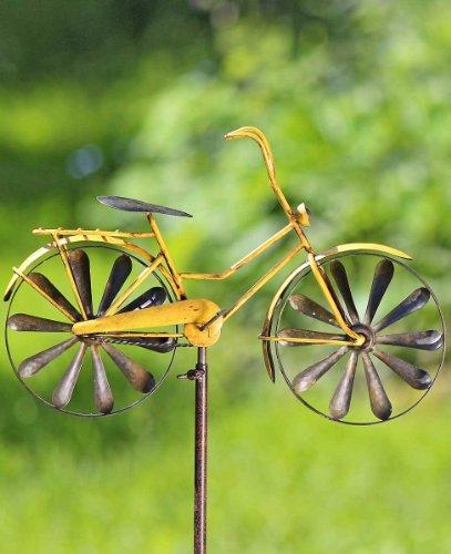 Gartenstab Fahrrad Gartenstecker mit antikem Charme, gelb