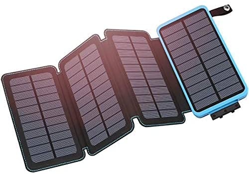 Hiluckey Solar Charger 25000mAh Portable Solar Power Bank Waterproof Battery Packs with Dual Ports Solar Phone Charger for iPhone, Samsung, iPad, etc
