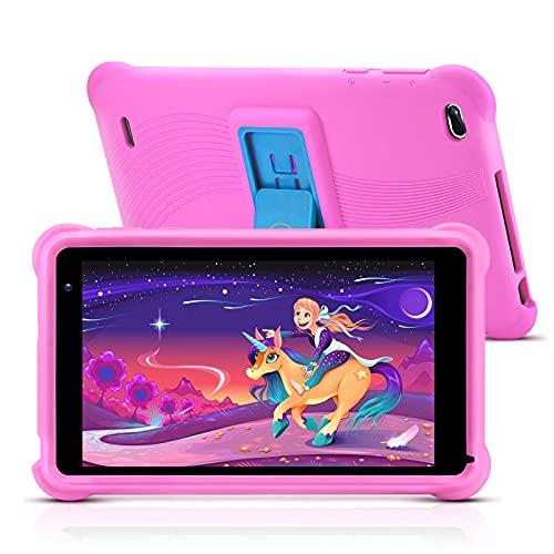 qunyiCO Y7 Tablet da 7 pollici per bambini, 1024 x 600 Full HD Display 10.0 Android GO, 2 GB di RAM, 32 ROM, app IWAWA con certificazione GGMS la sicurezza dei bambini ora e contenuti, rosa