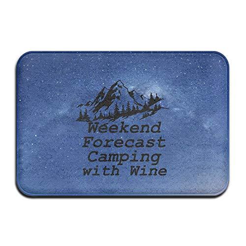 N\A Previsión de Fin de Semana Camping con Vino Funny Camper Interior/Exterior Felpudo
