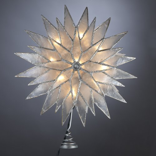 "Kurt Adler 9"" Lighted Capiz Silver Sunburst Star Christmas Tree Topper - Clear Lights"