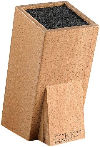TokioKitchenWare Messerhalter: Universal-Messerblock aus Holz mit Borsteneinsatz (Messerblock Borsten)