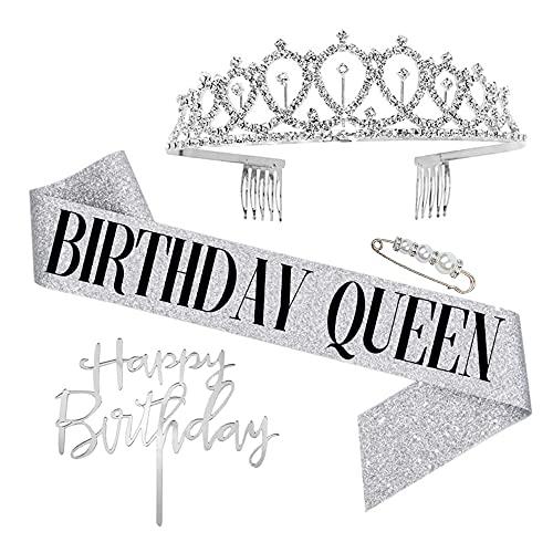 Yageartbtfed Corona Cumpleaños 4 Piezas Banda Cumpleaños Birthday Tiara Cumpleaños Faja Corona de Cristal Cumpleaños Diadema de Cumpleaños para Accesorios de Fiesta de Cumpleaños y DecoracionesC
