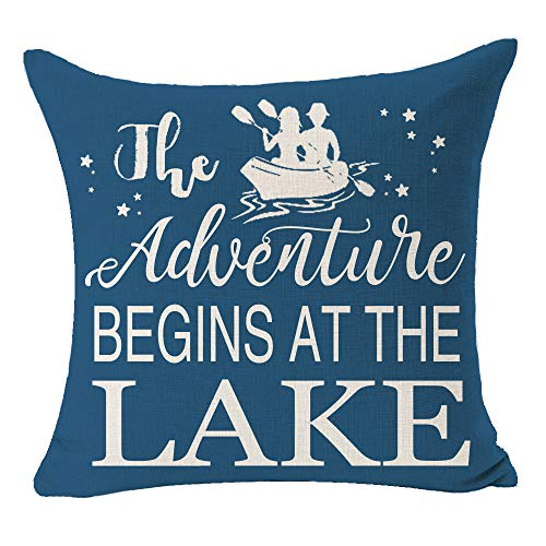 "The Adventure Begins at The Lake Quote Paddle Boating Blue Best Gift for Camping Travel Lake Cotton Linen Square Throw Pillow Case Decorative Cushion Cover Pillowcase for Bed Coach Sofa 18""x 18"""