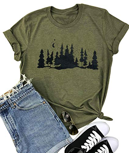 Skinny Pine Trees T-Shirt Women Cute Tree Graphic Nature Canping Hiking Tee Shirt Wanderlust Top Blouse (X-Large, Army Green)