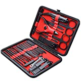 26 PCS Premium Manicure Set, AULLUA Nail Clippers, Professional Grooming Gift Kit, Pedicure Kit, Stainless Steel Facial, Cuticle, Nail Care Tools with Luxurious Portable Travel Case, for Women & Men