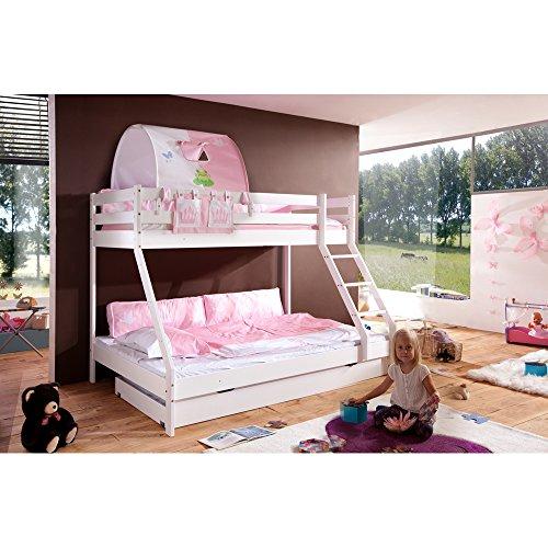 Relita stapelbed Mike incl. bedladen en 2 TLG. Textielset prinses, massief beuken wit gelakt