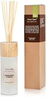 Home Lights Reed Diffuser Gift Set, Wooden Lid, Natural Scented Long Lasting Lemongrass Ginger Fragrance Oil for Home Office Gift Idea, Aromatherapy Air Freshener and Stress Relief, 200ml/6.76 fl.oz