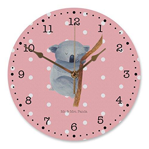 Mr. & Mrs. Panda Uhr, lautlos, 30 cm Wanduhr Koalabär - Farbe Rot Pastell